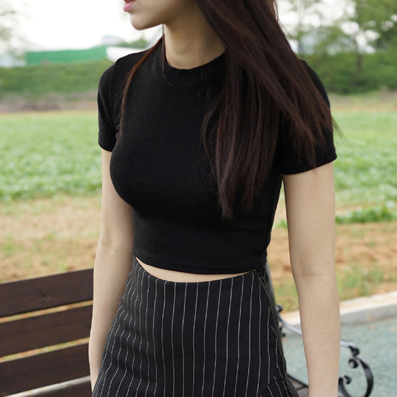 Women Summer T shirts Short Sleeves Round Neck Slim Fit Casual Pullover Crop Tops PO66 in T Shirts from Women 39 s Clothing