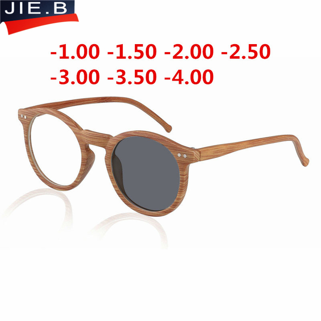 f7990708bf5b Gafas Retro redondas de madera Color sol fotocrómico acabado miopía montura  hombres mujeres con lentes de