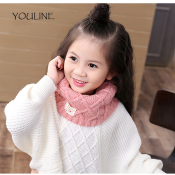 "YOULINE Boy and Gils New Fashion Pure Color Child Knitted Scarf Luxury Brand Winter Thick Warm""O""Ring Scarves For Children 17436"