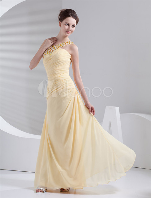 2014 Brilliant Rhinestone Beading Yellow Evening Gowns Gorgeous ...