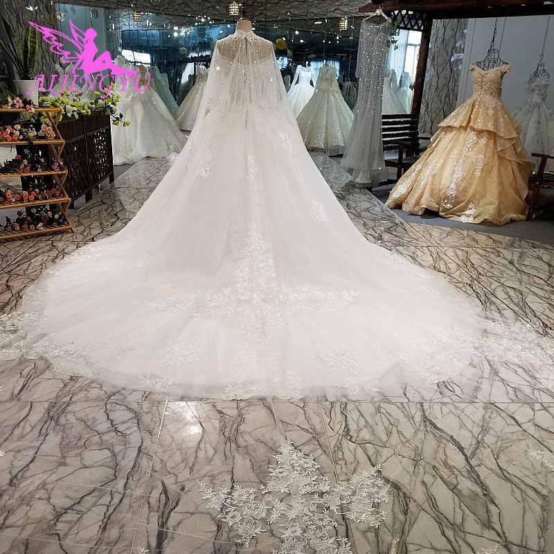 AIJINGYU בציר מברשת סוז שמלת וינטג חליפות עבור הכלה פשוט עם שרוולים הודי שמלות ארוך שרוול שמלות כלה