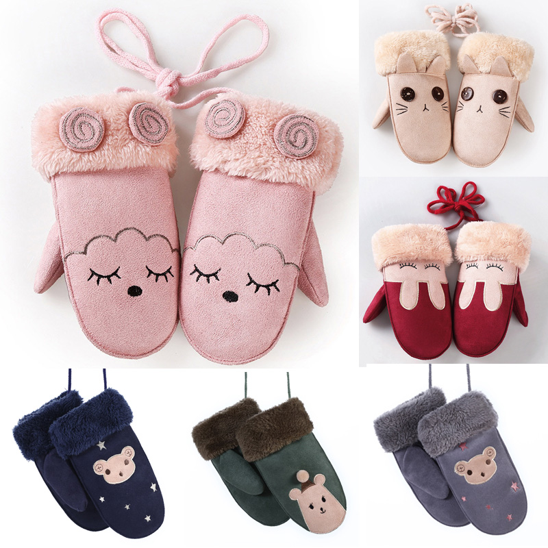 Winter Girls Boy Gloves Cute Cartoon Rabbit Thicken Warm Fleece Glove Kids Full Finger Gloves Wrist Mittens Hand Accessories