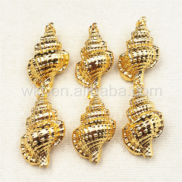 Wt jp022 wholesale full gold dipped trumpet shell pendant hot wt jp022 wholesale full gold dipped trumpet shell pendant hot sales genuine sea shell aloadofball Image collections