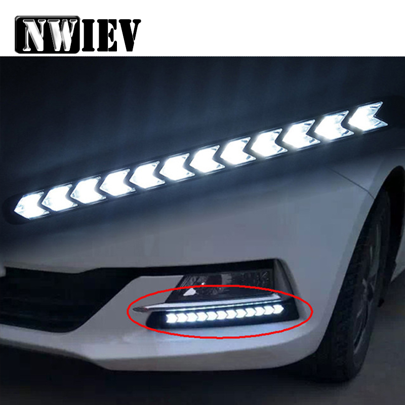 NWIEV 1Set Car <font><b>LED</b></font> <font><b>DRL</b></font> fog lamp <font><b>Turn</b></font> <font><b>Signals</b></font> with Yellow Steering For Ford Focus 2 3 VW <font><b>Passat</b></font> <font><b>B6</b></font> B5 B7 B8 Kia Rio Ceed Sportage image