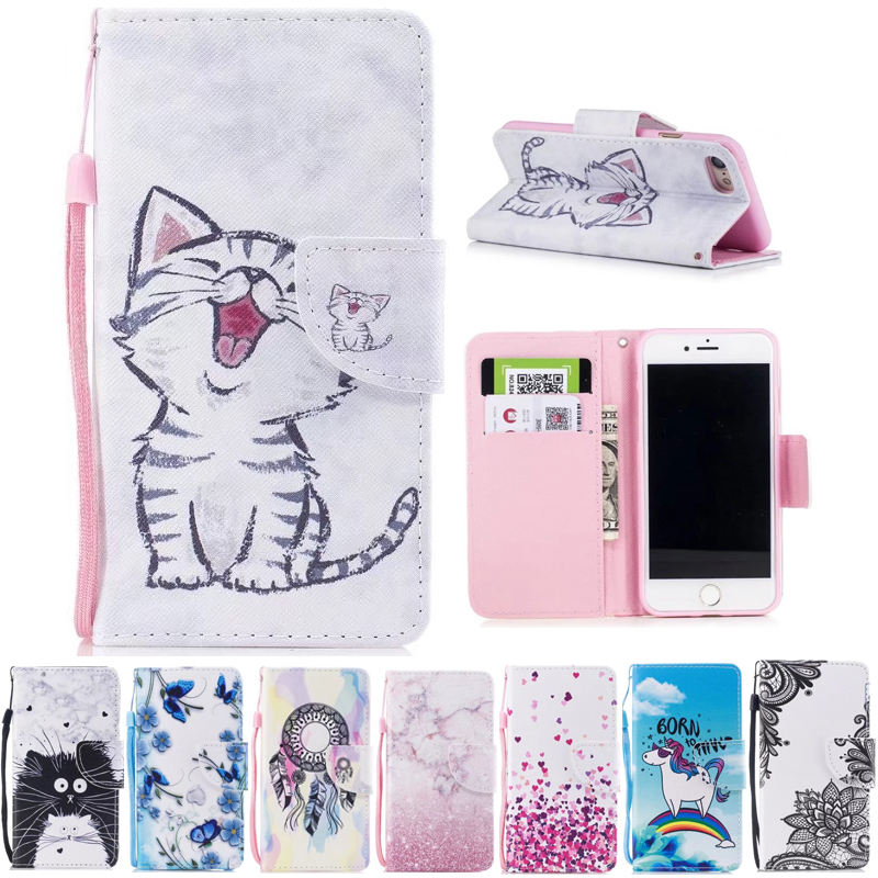 For iPhone 7 iPhone7 Case Wallet Cute Cat Stand Cases For Apple iPhone 8 iPhone8 Cover Flip PU Leather Book Holder Bags Animal