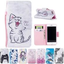 IPhone 7 iPhone7 kılıf cüzdan sevimli kedi standı kılıfları Apple iPhone için 8 iPhone8 kapak kapak PU deri kitap tutucu çanta h...