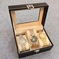 2016 Хорошая Обратная Связь Наручные Часы Показать Хранения Организатор Box Контейнер 3 Cell Кожа Оконный Дело смотреть box 3 клетки hot продажа