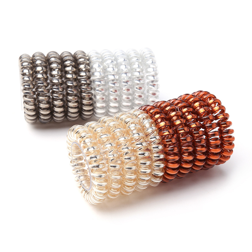 Good Quality 1 pc/lot 4.5cm Telephone Wire Elastic Hair Band Women Rubber Bands Girls Ponytail Holder Bracelet Gum   Headwear