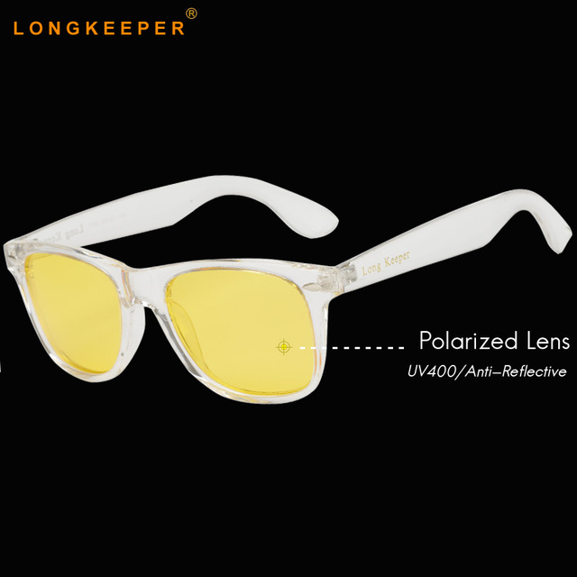 e727d29985 LongKeeper Night Vision Goggles Sunglasses Women Men Brand Designer Driving  Sun Glasses Transparent Frame Yellow Lenses 1029LOGO