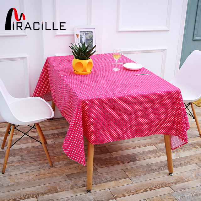 Miracille Dark Pink Table Cover Classics White Dots Cotton Linen ...