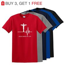 цена Jesus Saved My Life TShirt Savior God Religion Prayer Faith Christian Gift Tee HarajukuTops Fashion Classic Unique free shipping онлайн в 2017 году
