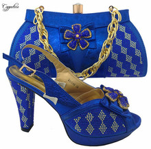 Popular African high heel shoes and handbag set latest party sandal with bag MM1044 in royal blue, heel height 11cm