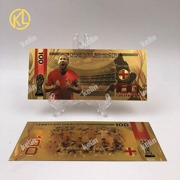 1 шт. хорошая цена Россия банкнот спортивные 100 рублей золотых банкнот в центре сообщений в течение 24k Gold Фольга с Национальный российский Футбол команды - Цвет: KL-Stars-001