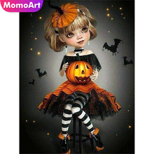 MomoArt Diamond Painting Halloween Girl Embroidery Full Square Rhinestone Mosaic Pumpkin Gift