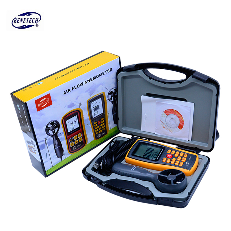 Air Anemometer handheld LCD Digital 45m/s Wind Speed Meter air flow anemometer USB interface with carry box GM8902 handheld digital pressure meter manometer 10kpa gm510 pressure gauge tester usb manometro with carry box