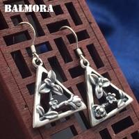 BALMORA 990 Pure Silver Triangular Flower Earrings For Women Mother Gift Brincos Vintage Earrings Thai Silver
