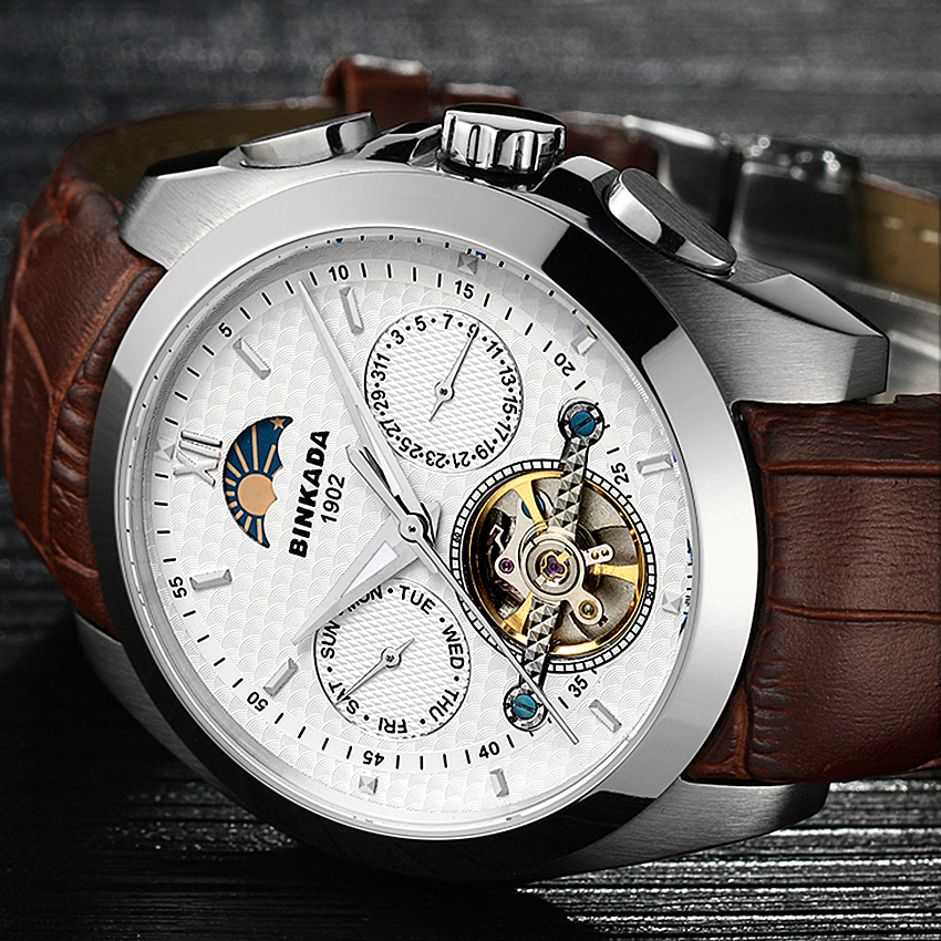 Big Size Business Mechanical Watches Mens Skeleton Tourbillon Automatic Watch Men Gold Steel Calendar Waterproof Relojes