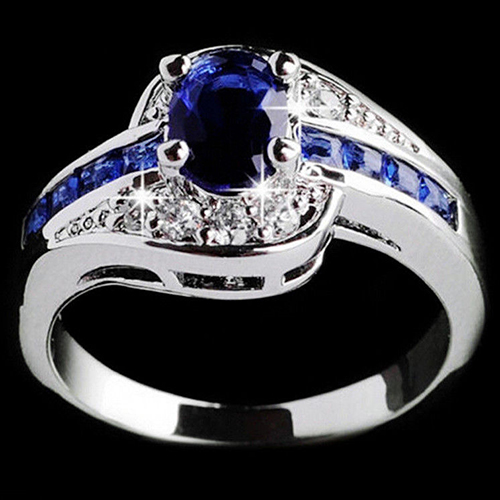 Elegant Lady Royal Blue Rhinestone Finger Wedding Engagement Ring