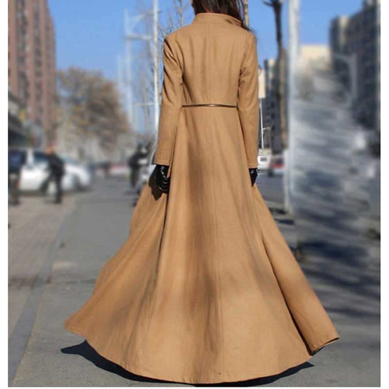2019 Feminino European and American Women Autumn Winter Woolen Maxi Long Coat Trench Female Robe Outerwear Manteau Femme