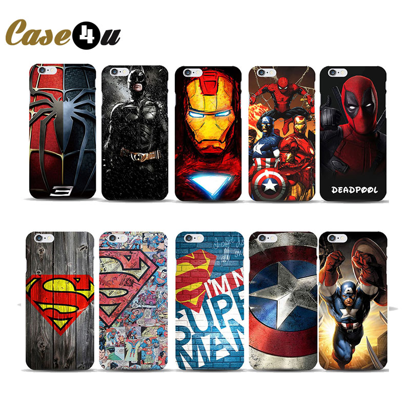 Fantastic Superhero Hard Phone Cover for capinha iphone 5 5SE 6 6s Case Marvel ironman Batman Deadpool Comic Image Coque Fundas