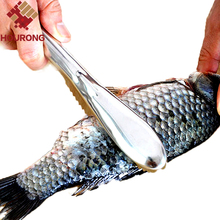 Hourong 1Pc Kitchen Gadget Cleaning Fish Skin Scraper Stainless Steel Fish Scales Fishing  Cocina Tool