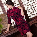2016 navy blue red rose red Chinese women's traditional silk/satin short dress Cheongsam Vintage Qipao SZ: S--3XL free shipping