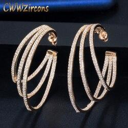 CWWZircons 3 Círculo Bling Cubic Zirconia Pave Luxo Amarelo da Cor do Ouro Big Rodada Geométrica Brincos de Argola para As Mulheres CZ581
