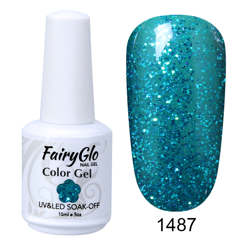 FairyGlo 15ML Nail Gel Pearlescent Stylish UV LED Gel Nail Polish Soak Off Semi Permanent Lucky Lacquer Hybrid Gel Varnish Glue