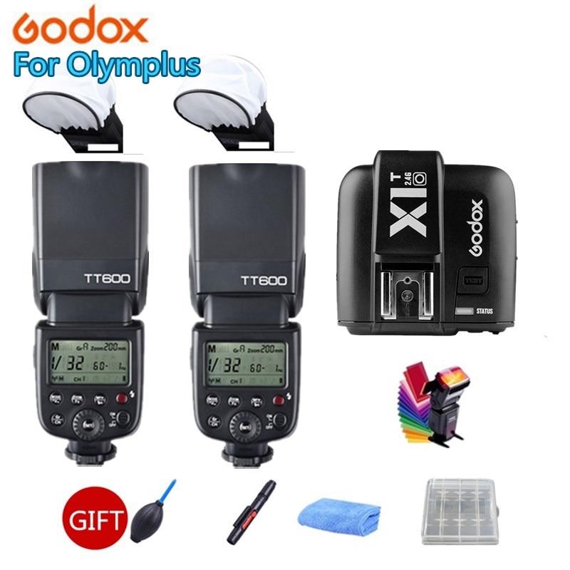 2x Godox Camera Flash Speedlite TT600s HSS GN60 2.4G Wireless + X1T-O Transmitter for Pentax Olympus DSLR + GIFT KIT in stock godox tt685o x1t o transmitter 2 4g hss 1 8000s ttl ii gn60 camera flash speedlite for panasonic olympus gift kit