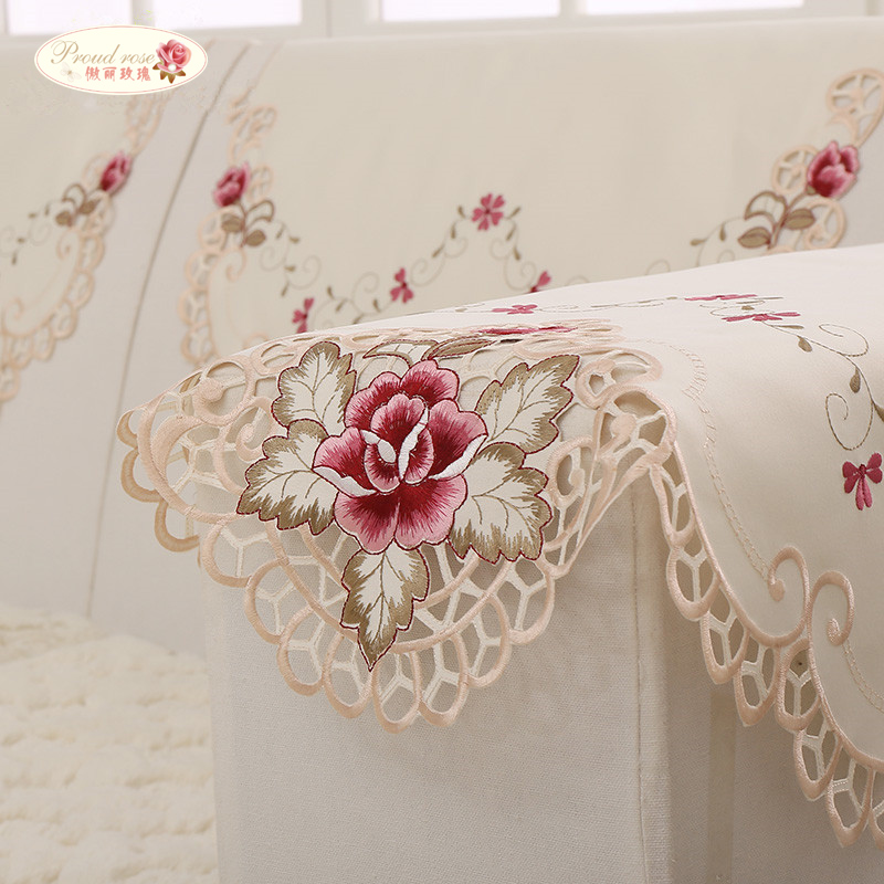Rose Embroidered Towels: Proud Rose Embroidered Sofa Cover Sofa Towel Armrest Towel