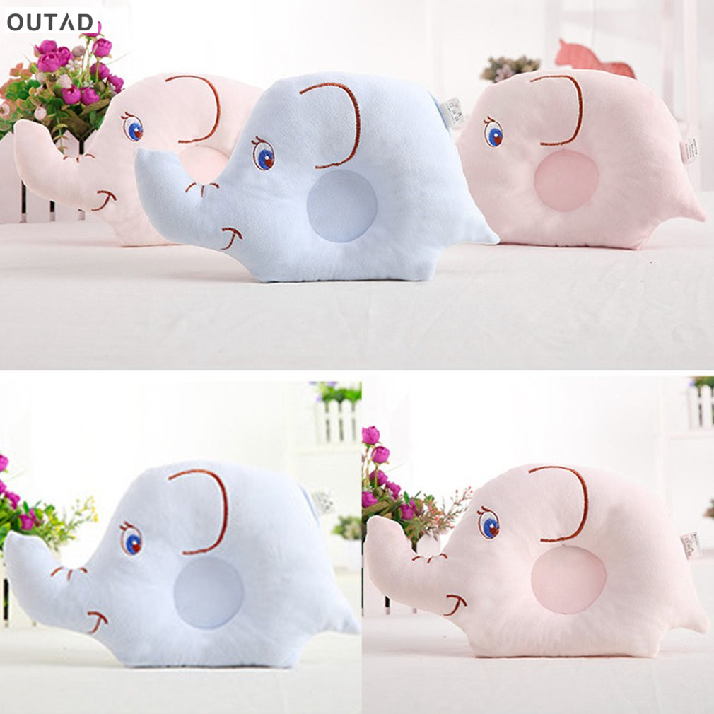 Baby Shaping Pillow Soft Cotton Lovely Cartoon Sleep Head Positioner Anti-rollover Elephant Head Pillow Protection of Newborn