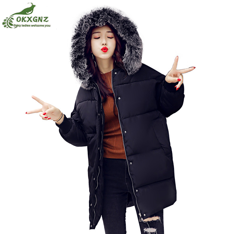 New winter women jacket coat medium long large size thickening Outerwear women autumn learning warm Down cotton coat OKXGNZ