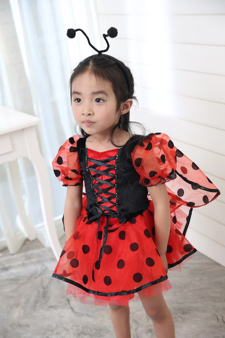 Vocole Halloween Kid Girl Ladybug Wings Beetle Costume Coccinella Cosplay Fancy Dresses Child Book Week Dress