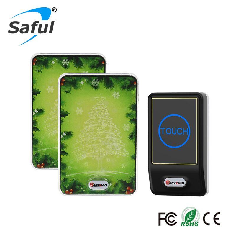 Saful Rainproof Wireless DoorBell AC 100-240V Home Gate Security 1 Outdoor Transmitter+2 Indoor Wireless Doorbell Receiver
