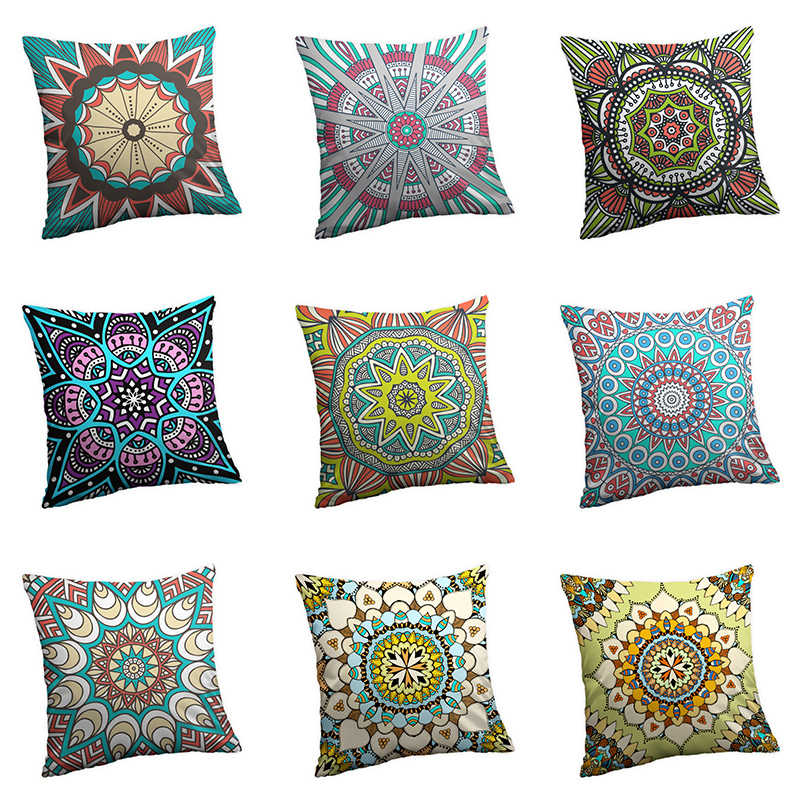 40x40/45x45/<font><b>50x50</b></font>/60x60 cm Mandala Digital Printing Peach Skin Bright Color Both Side Print <font><b>Pillow</b></font> <font><b>Case</b></font> image