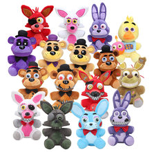 25 cm FNAF Dourado das Cinco Noites No Freddy Freddy foxy Bonnie Chica Local da Irmã stuffed boneca queque Freddy Fazbear brinquedos de pelúcia(China)