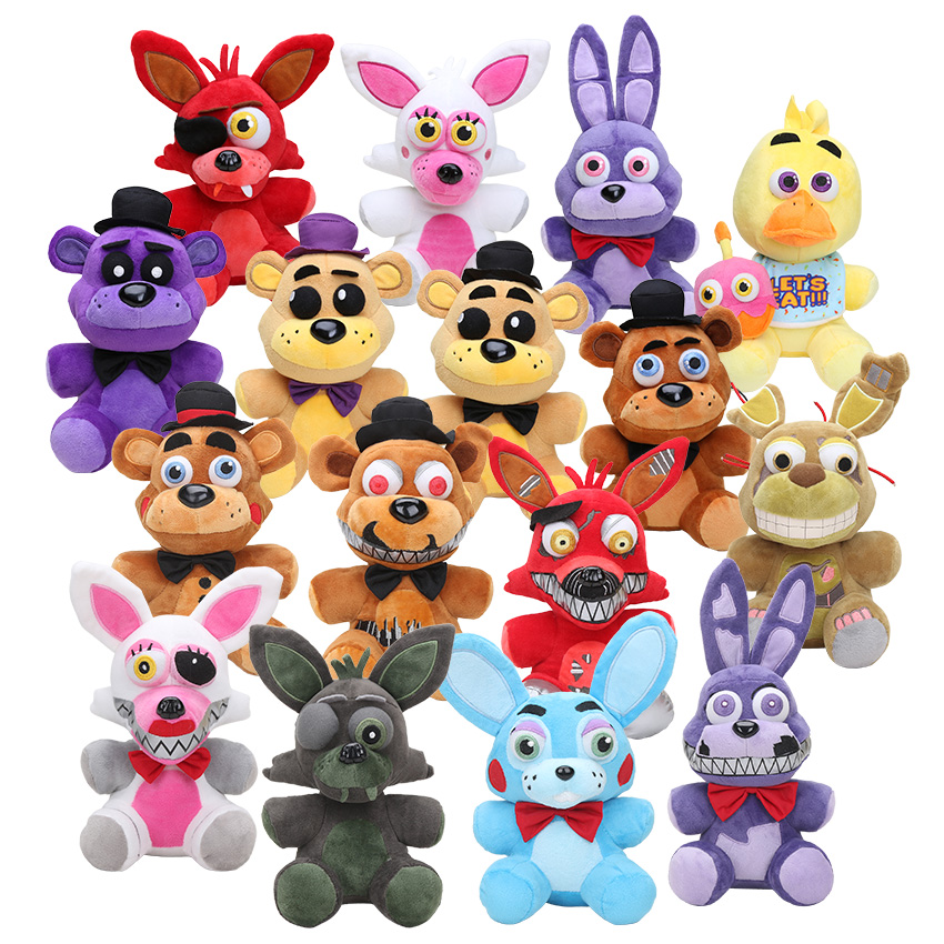 25cm Five Nights At Freddy's FNAF Golden Freddy foxy Bonnie Chica Sister Location stuffed doll cupcake Freddy Fazbear plush toys women custom name crystal big diamond clutch full crystal hot selling 2017 new fashion evening bags 1001bg