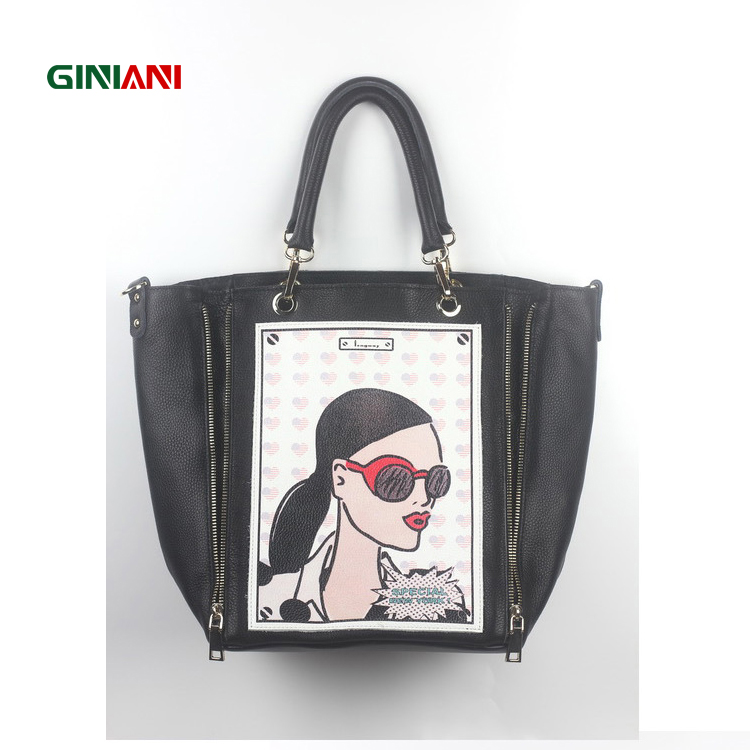 GINIANI Genuine Leather Women's Longitudinal Double Zippers Large Shopping Totes Fashion Rock Style Head Portrait Painting Bag