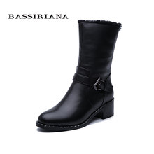 BASSIRIANA/2019 new winter women's boots genuine fur leather warm shoes short high quality(China)