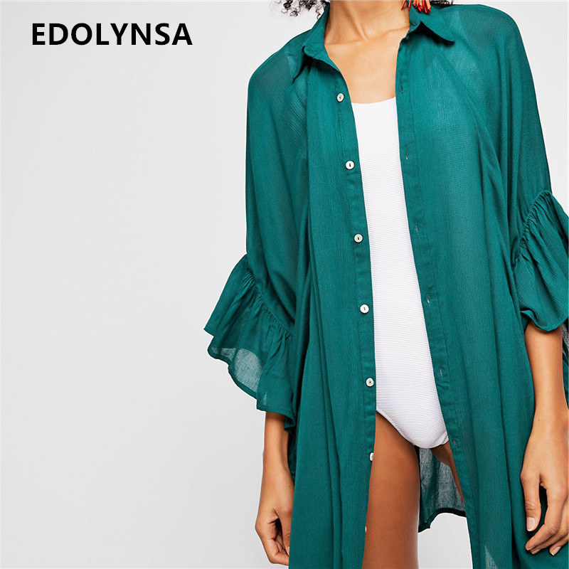 c78355c44f7 Casual Women Tops For Summer Ladies Three Quarter Green Open Front Button  Kimono Plus Size Long