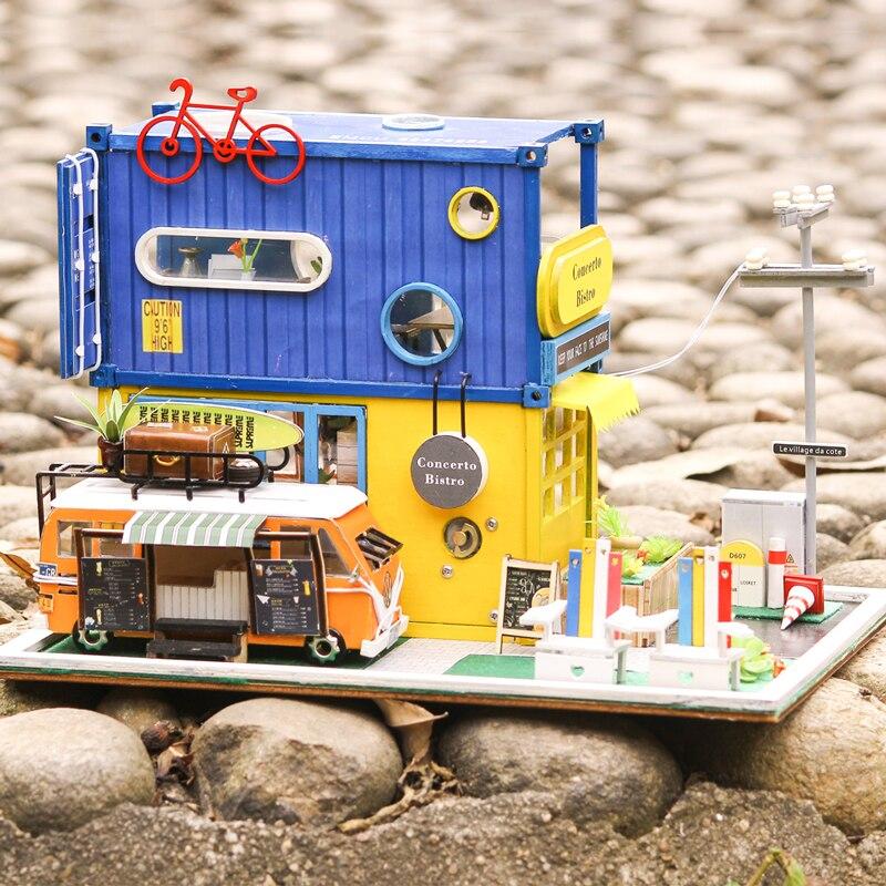 CUTEBEE bricolage maison de poupée en bois maisons de poupée Miniature maison de poupée Kit de meubles jouets pour enfants cadeau de noël K39