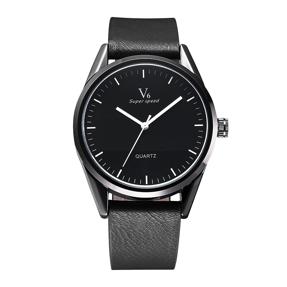 Men Quartz top brand man watches V6 Simple Wristwatch waterproof with leather strap Bracelet clock men reloj hombre