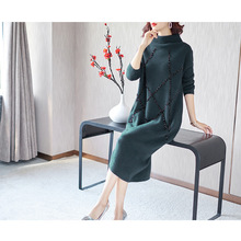 Solid beading turtleneck elastic knti long wool sweater dress 2018 new women autumn winter thick loose basic