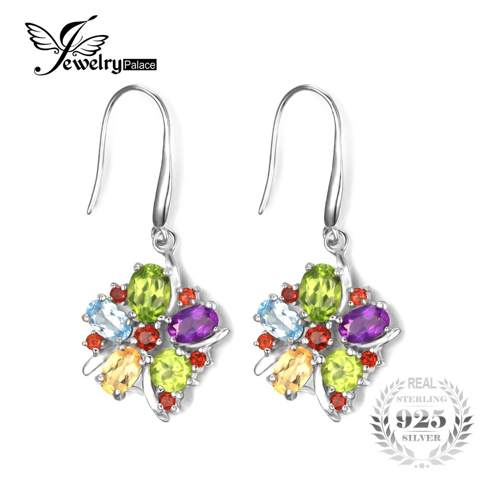JewelryPalace 6 2ct Amethysts Garnet Peridot Citrines Blue Topazs Cocktail Drop Earrings 925 Sterling Silver Jewelry