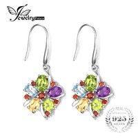 Genuine Amethyst Citrine Garnet Peridot Sky Blue Topaz Drop Earrings Dangle Solid 925 Sterling Silver Unique