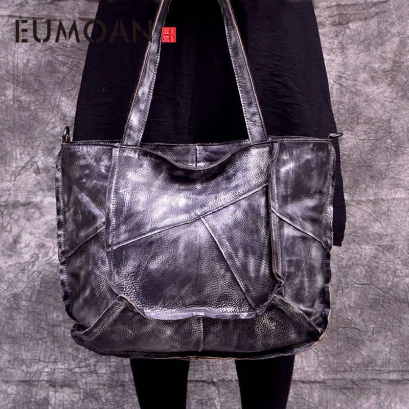 EUMOAN genuine Leather handbags women first layer leather color retro irregular patchwork totes simple casual large