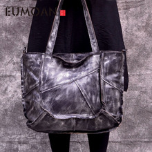EUMOAN genuine Leather handbags women first layer leather color retro irregular patchwork totes simple casual large shoulder bag vendange fashion lady totes retro simple leisure genuine leather bag women shoulder bag 2438