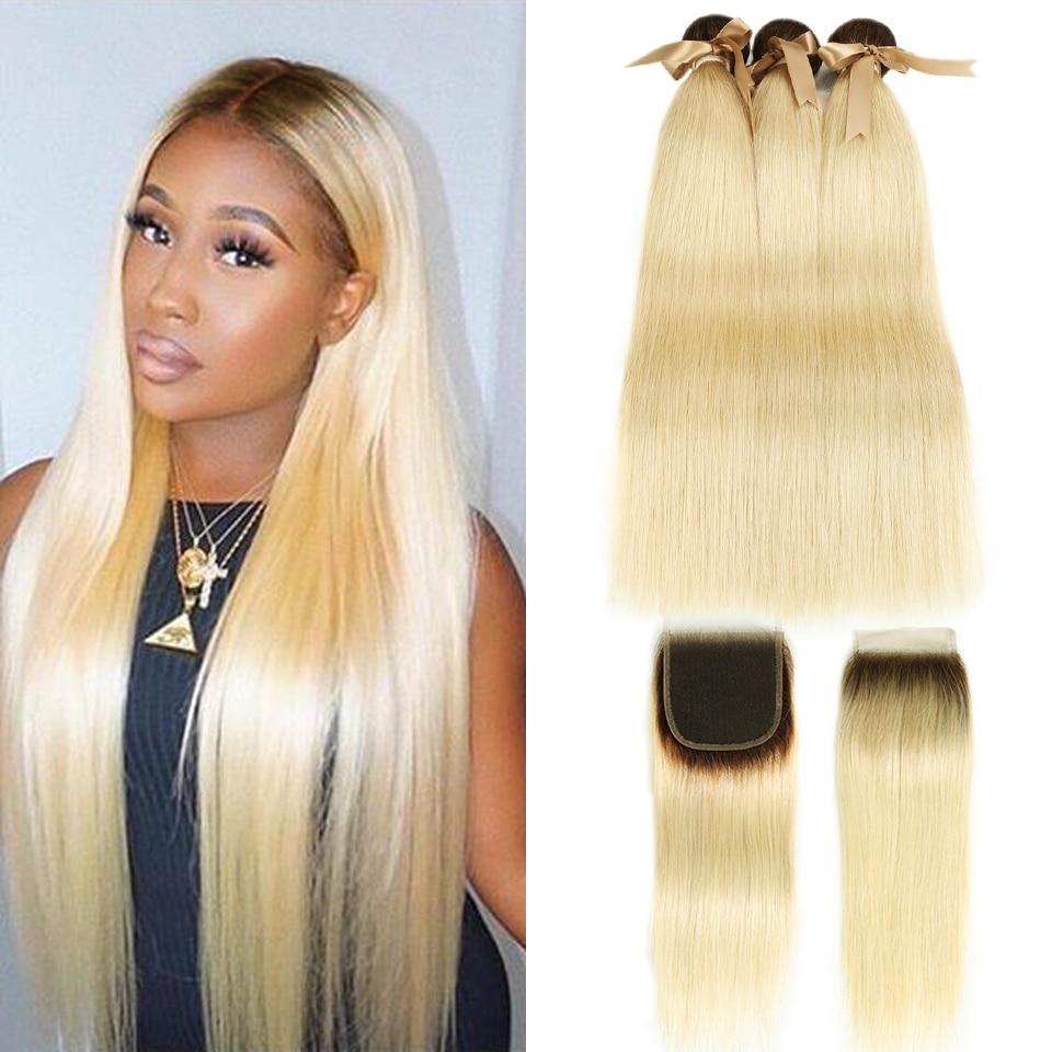 Preto pérola ombre pacotes com fechamento peruano cabelo reto 613 mel loira pacotes com fechamento remy 613 extensões do cabelo