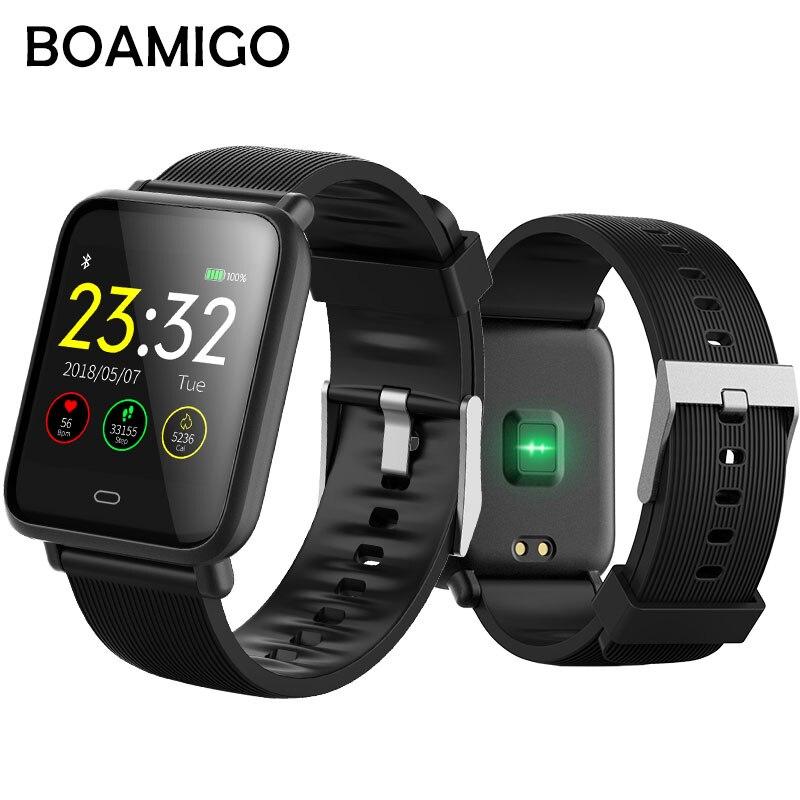 Bluetooth Smart Uhr BOAMIGO Smartwatch Für IOS Android Anruf Erinnern Kamera Kalorien herzfrequenz armband Armband OLED