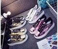 Primavera/verão Sapatos Casuais Mulher brilhante Sapatos baixos Mulher Sapatos Estudante de Moda Sapatos de Plataforma Plana